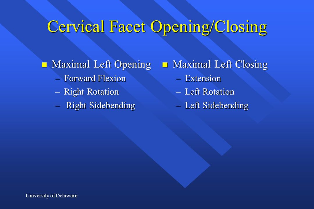 Cervical Facet Opening/Closing