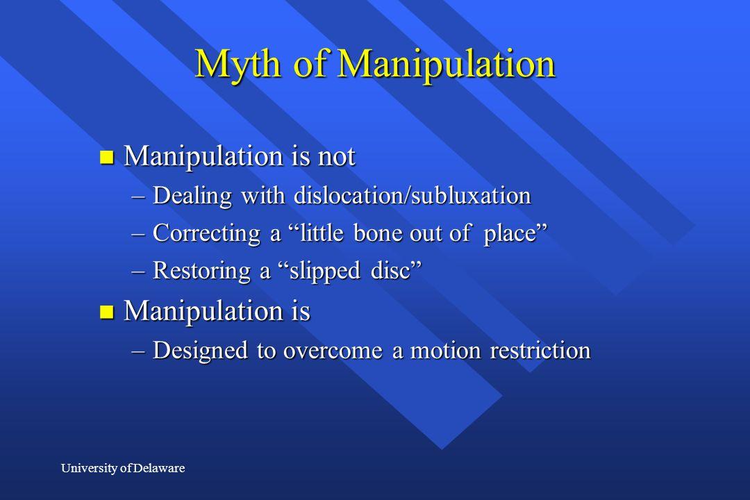Myth of Manipulation Manipulation is not Manipulation is
