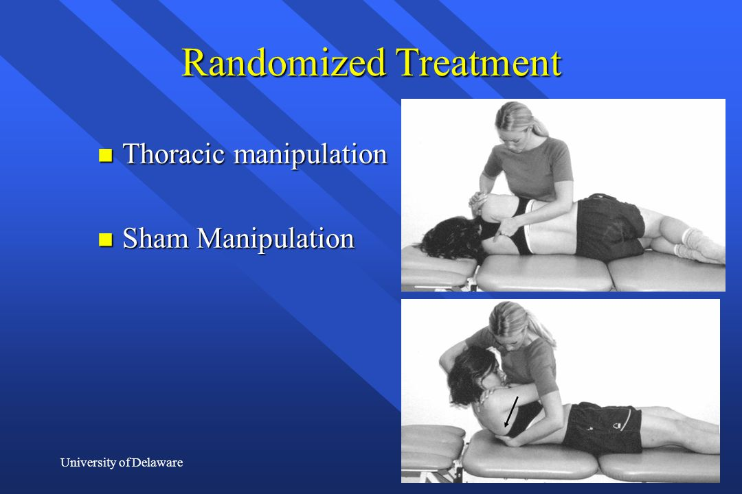 Randomized Treatment Thoracic manipulation Sham Manipulation