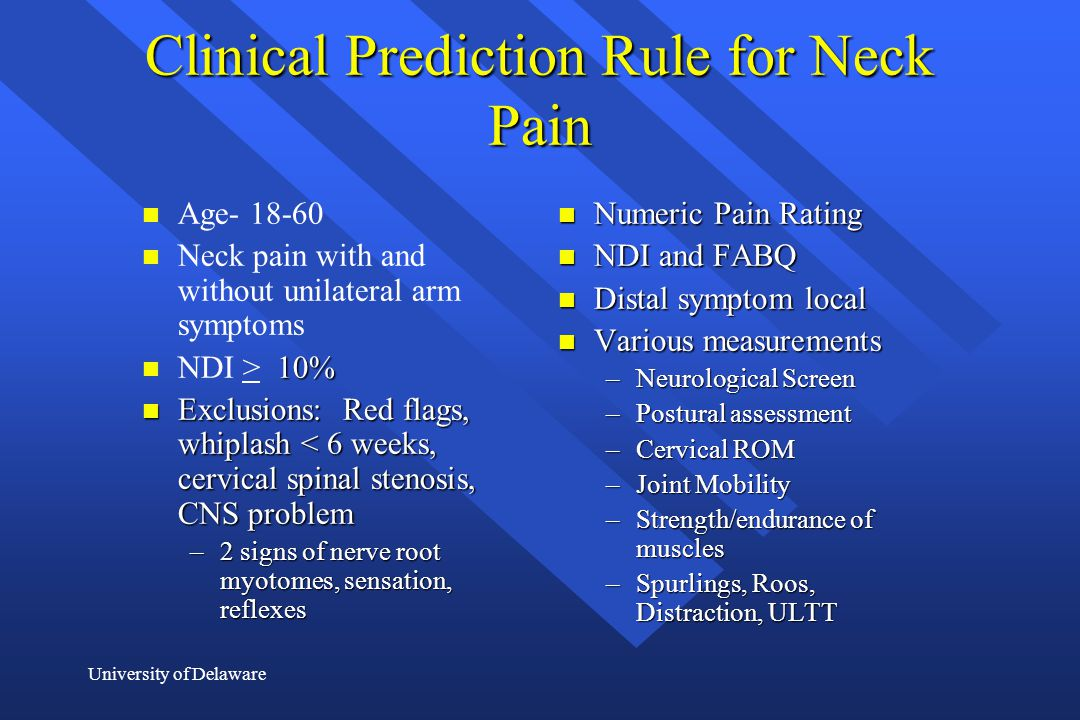 Clinical Prediction Rule for Neck Pain