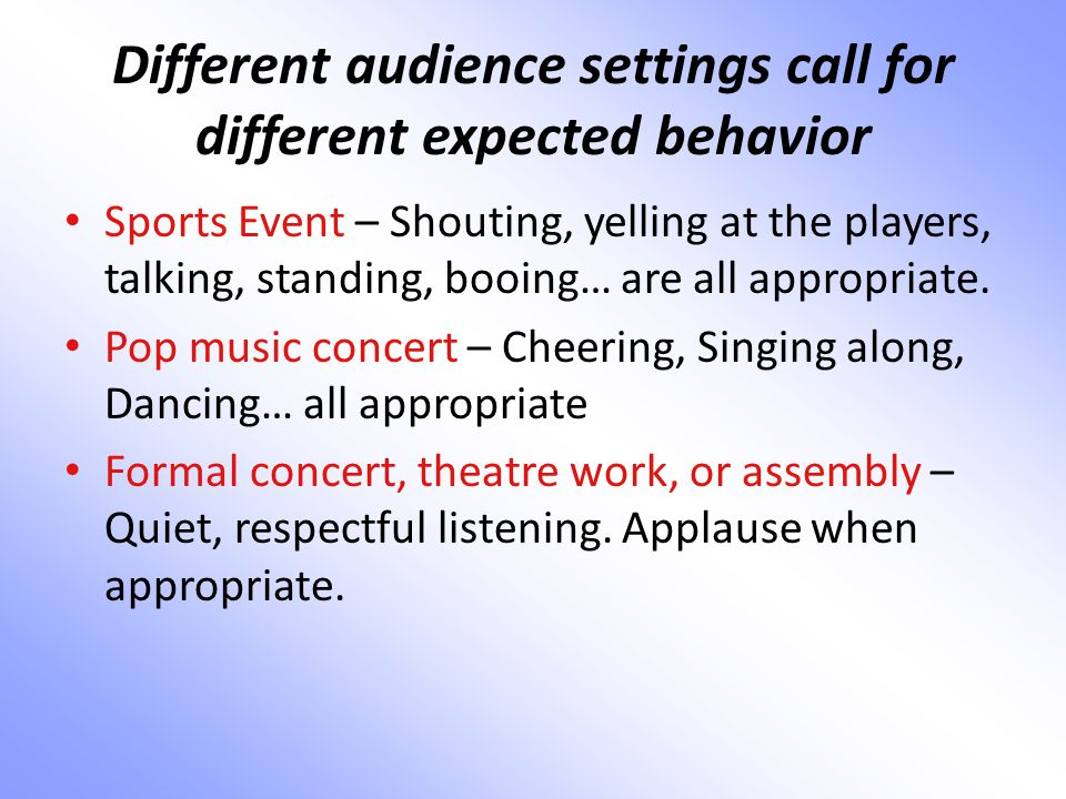 Different audience settings call for different expected behavior