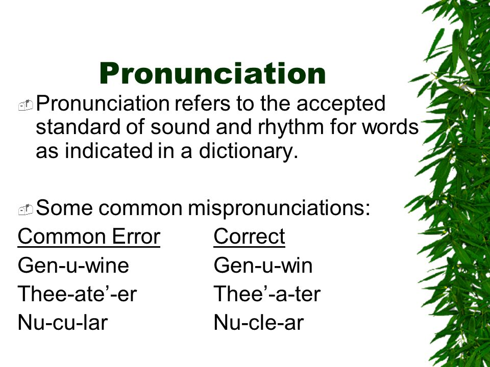 Pronunciation Pronunciation refers to the accepted standard of sound and rhythm for words as indicated in a dictionary.