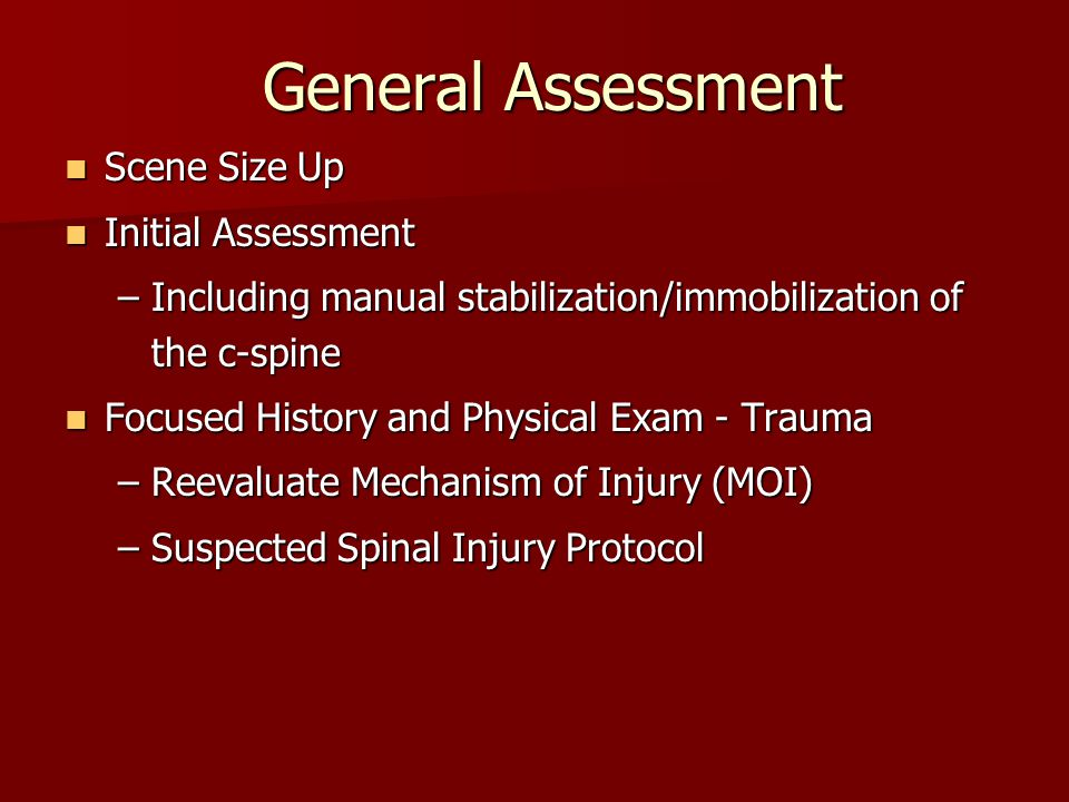 General Assessment Scene Size Up Initial Assessment