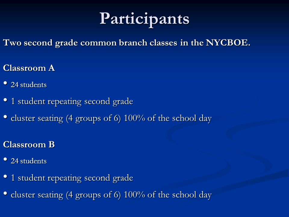 Participants • 24 students • 1 student repeating second grade
