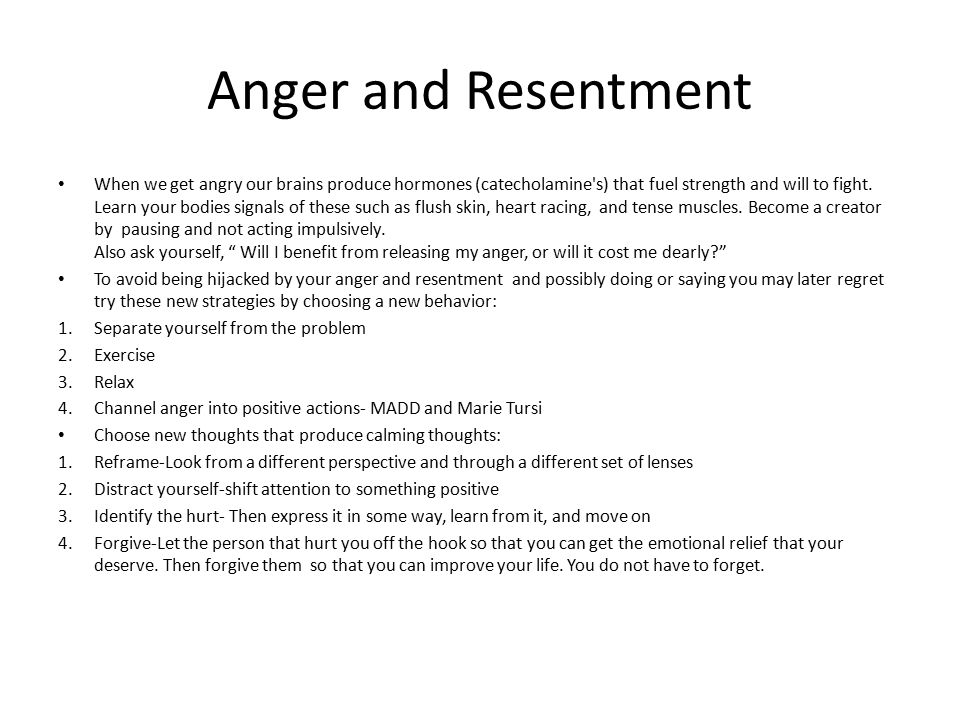 Anger and Resentment
