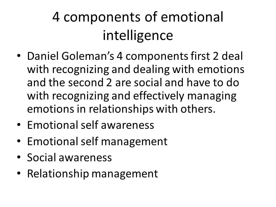 4 components of emotional intelligence