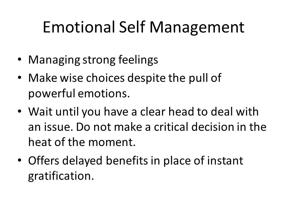 Emotional Self Management
