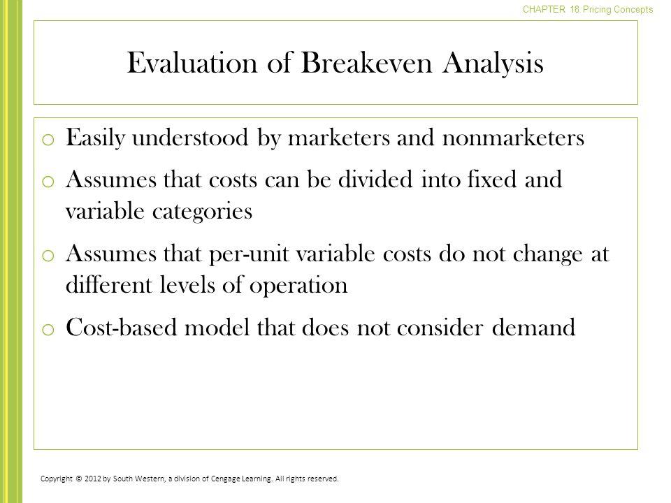 Evaluation of Breakeven Analysis