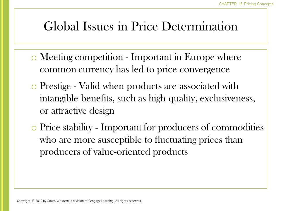 Global Issues in Price Determination