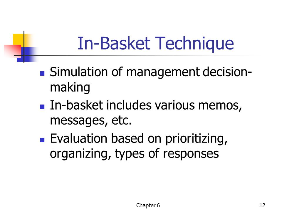 In-Basket Technique Simulation of management decision-making