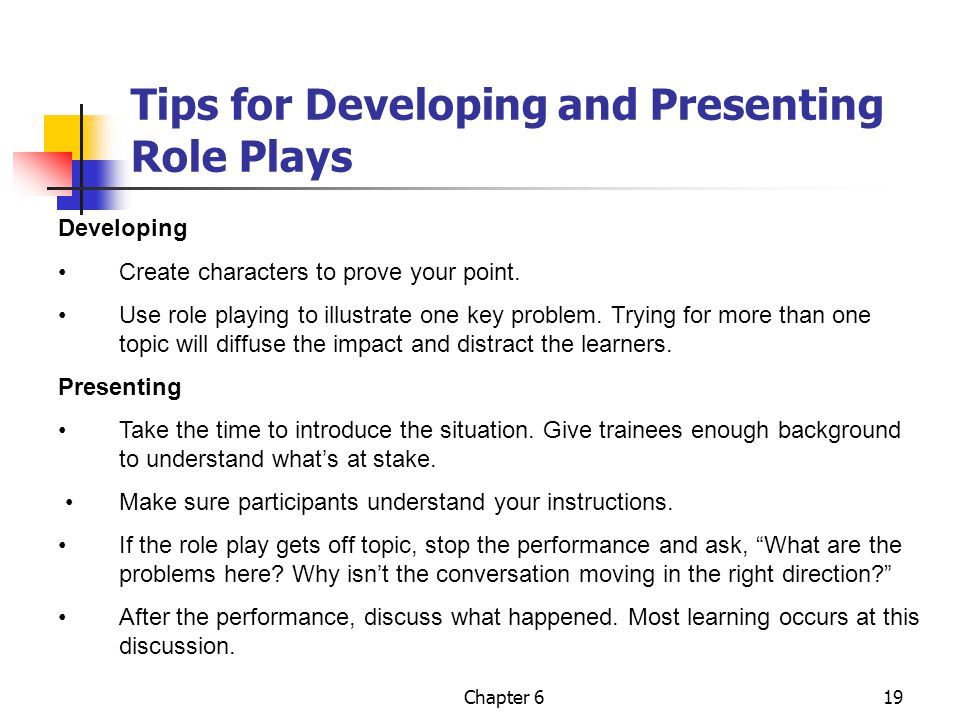 Tips for Developing and Presenting Role Plays