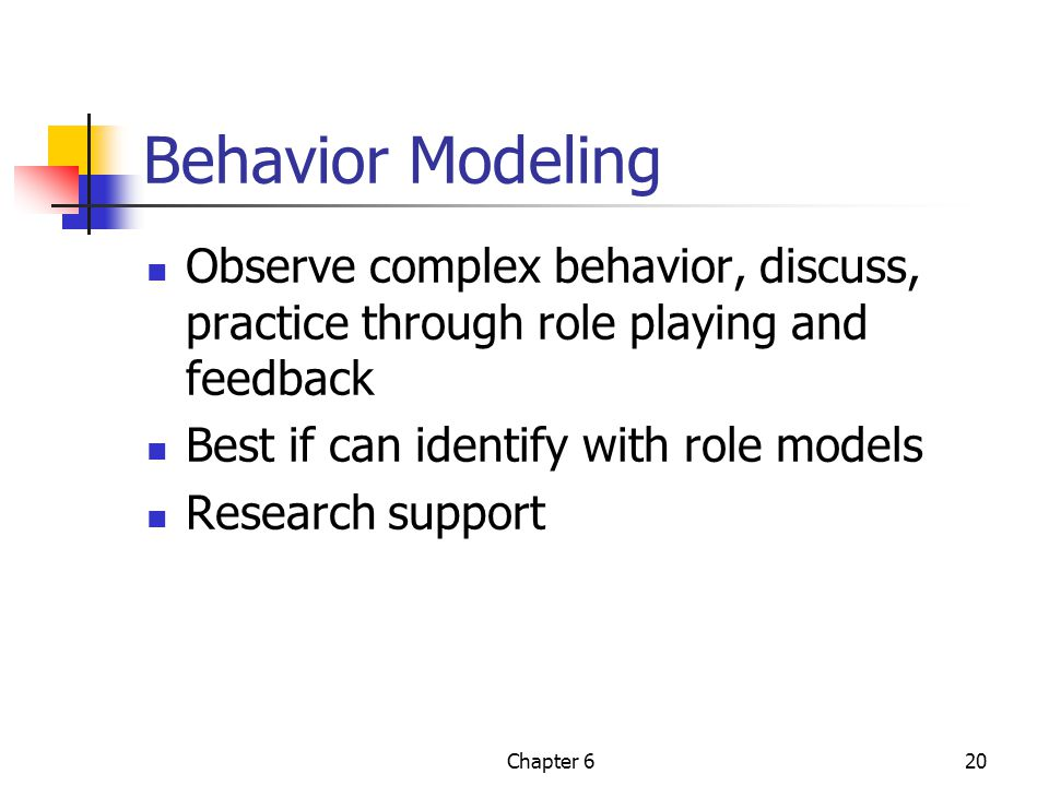 Behavior Modeling Observe complex behavior, discuss, practice through role playing and feedback. Best if can identify with role models.