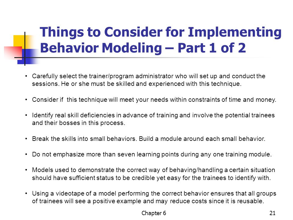 Things to Consider for Implementing Behavior Modeling – Part 1 of 2