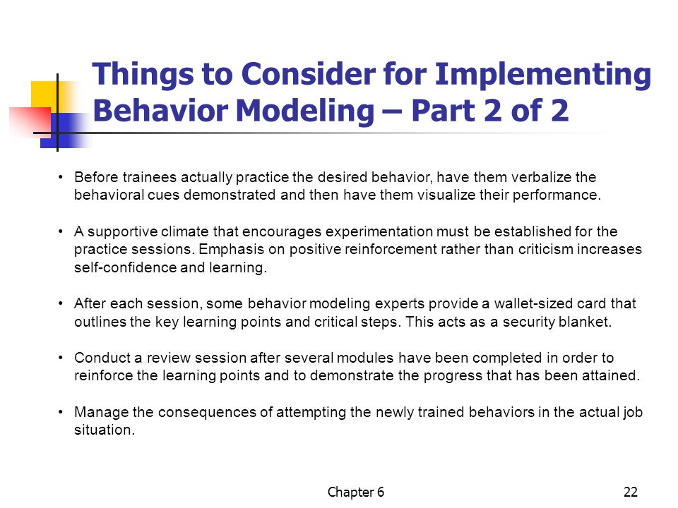 Things to Consider for Implementing Behavior Modeling – Part 2 of 2