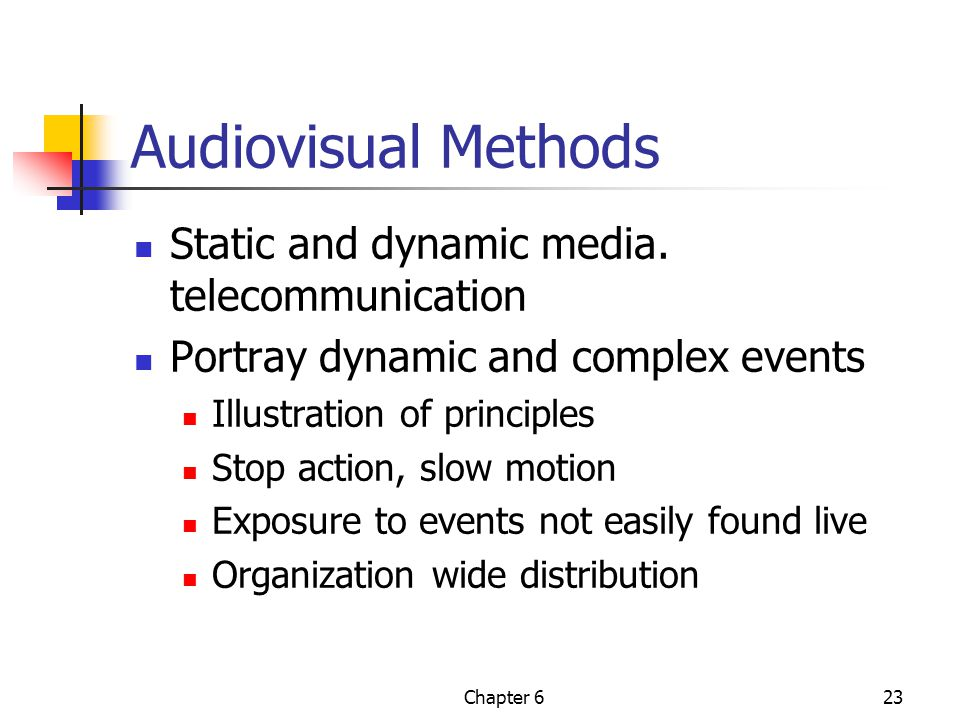Audiovisual Methods Static and dynamic media. telecommunication
