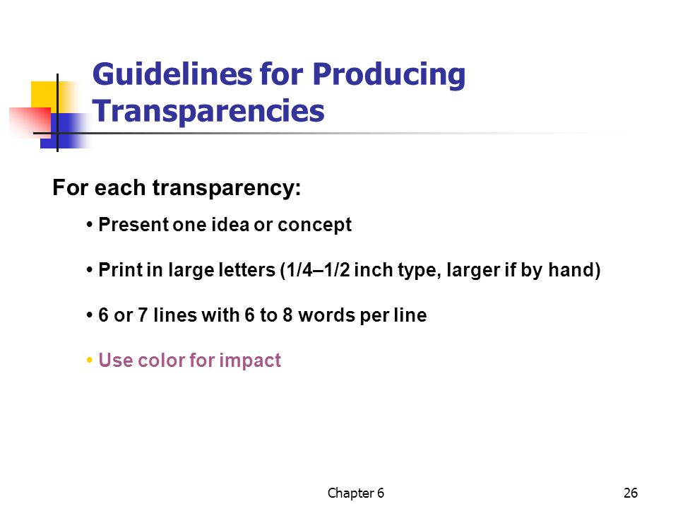 Guidelines for Producing Transparencies