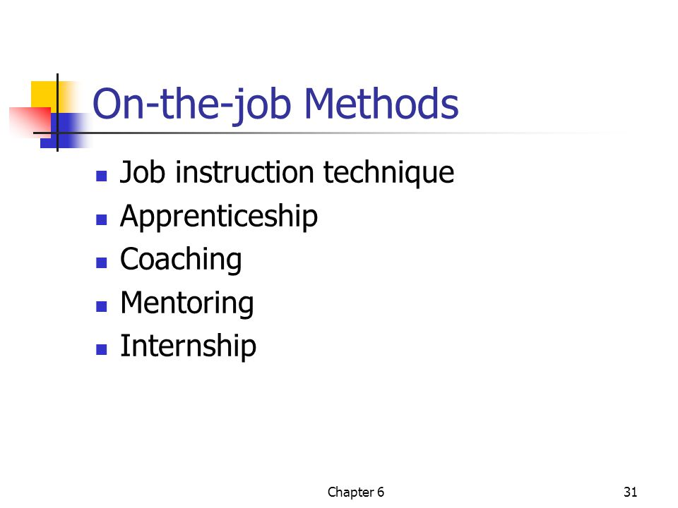 On-the-job Methods Job instruction technique Apprenticeship Coaching