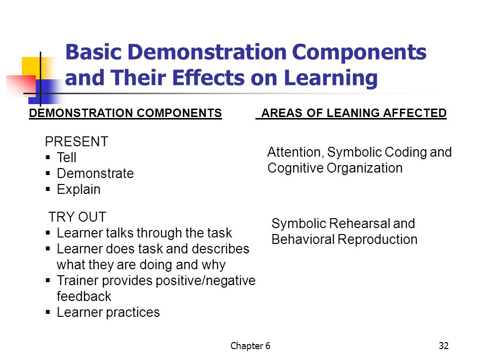 Basic Demonstration Components and Their Effects on Learning
