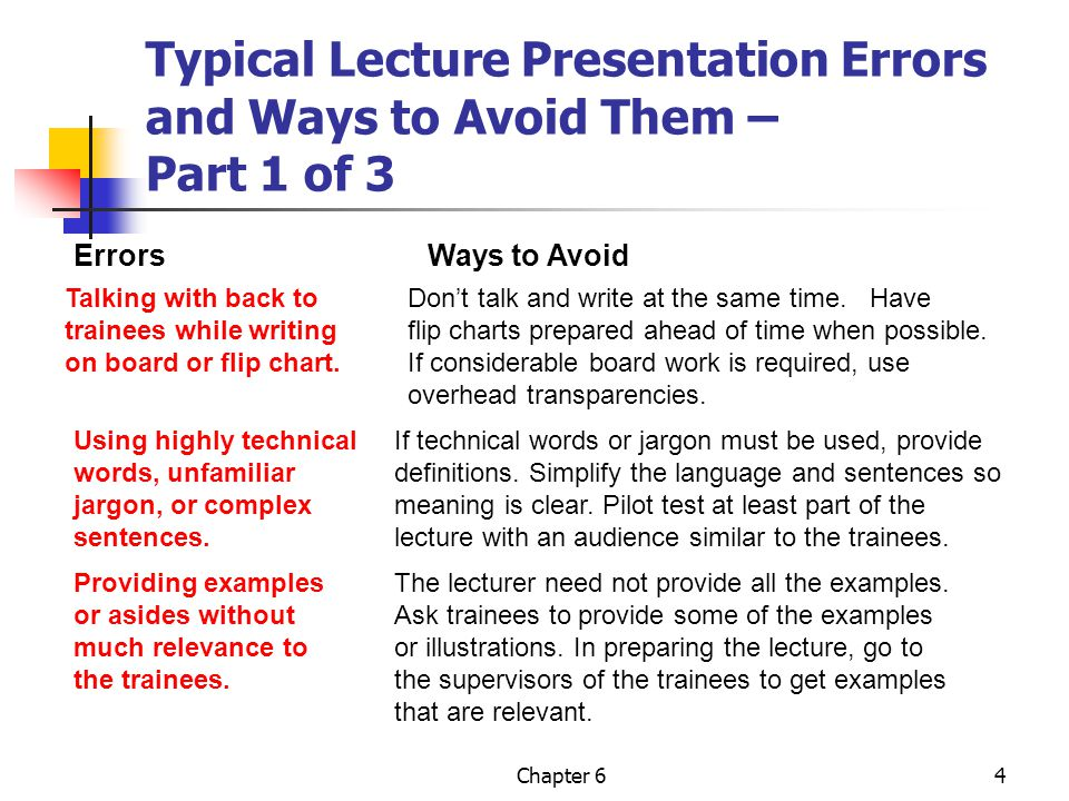 Typical Lecture Presentation Errors and Ways to Avoid Them – Part 1 of 3