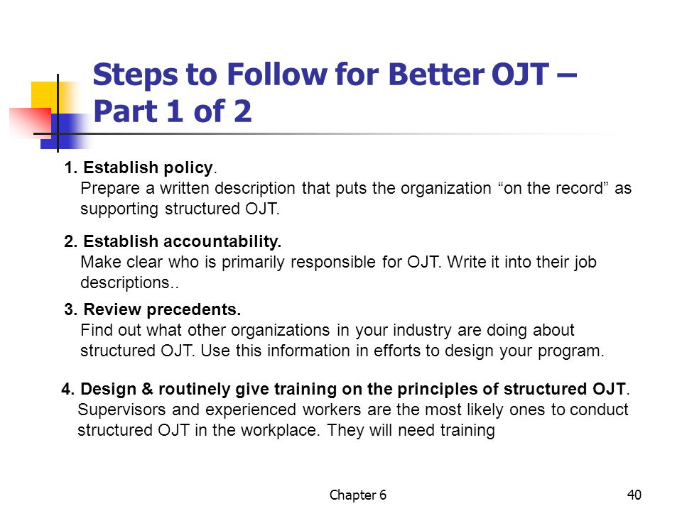 Steps to Follow for Better OJT – Part 1 of 2