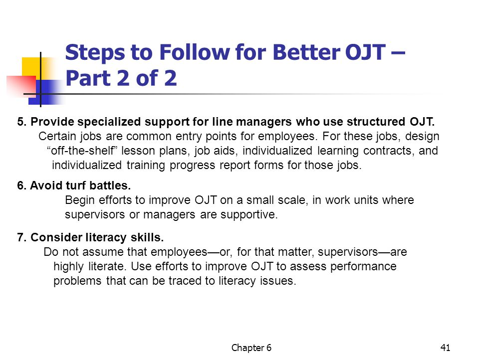 Steps to Follow for Better OJT – Part 2 of 2