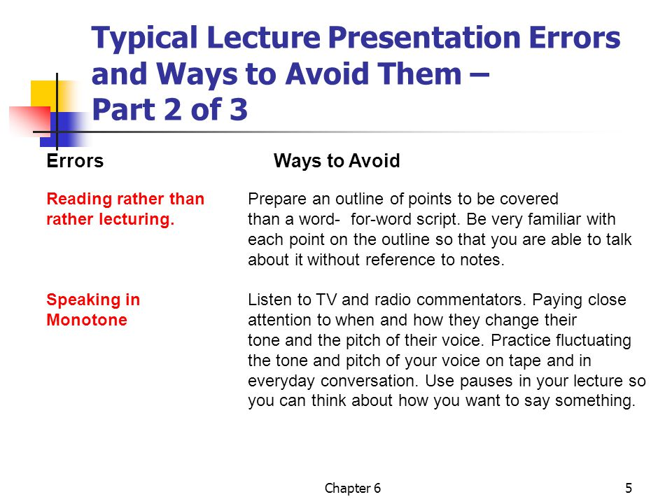 Typical Lecture Presentation Errors and Ways to Avoid Them – Part 2 of 3