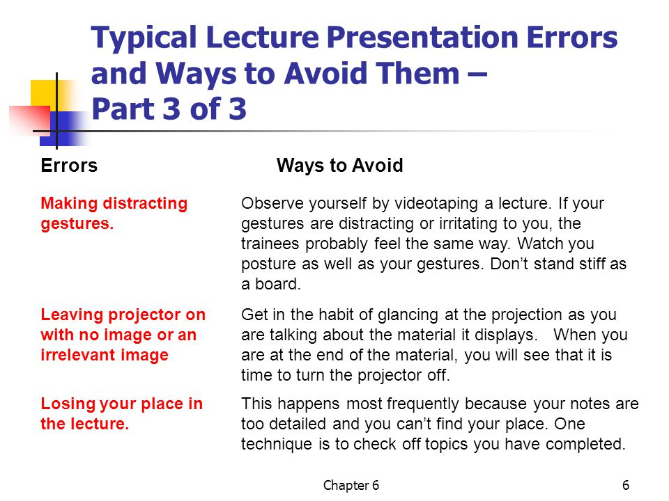 Typical Lecture Presentation Errors and Ways to Avoid Them – Part 3 of 3