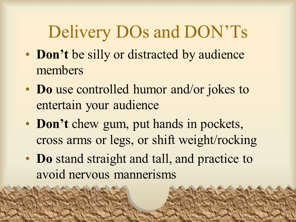 Delivery DOs and DON'Ts