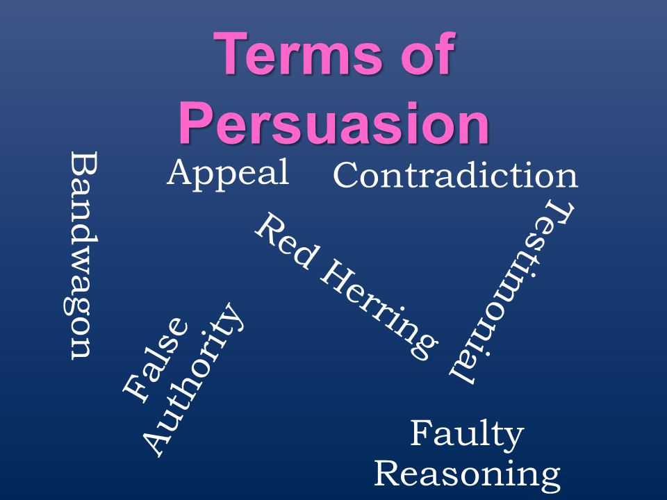 Terms of Persuasion Appeal Contradiction Bandwagon Testimonial