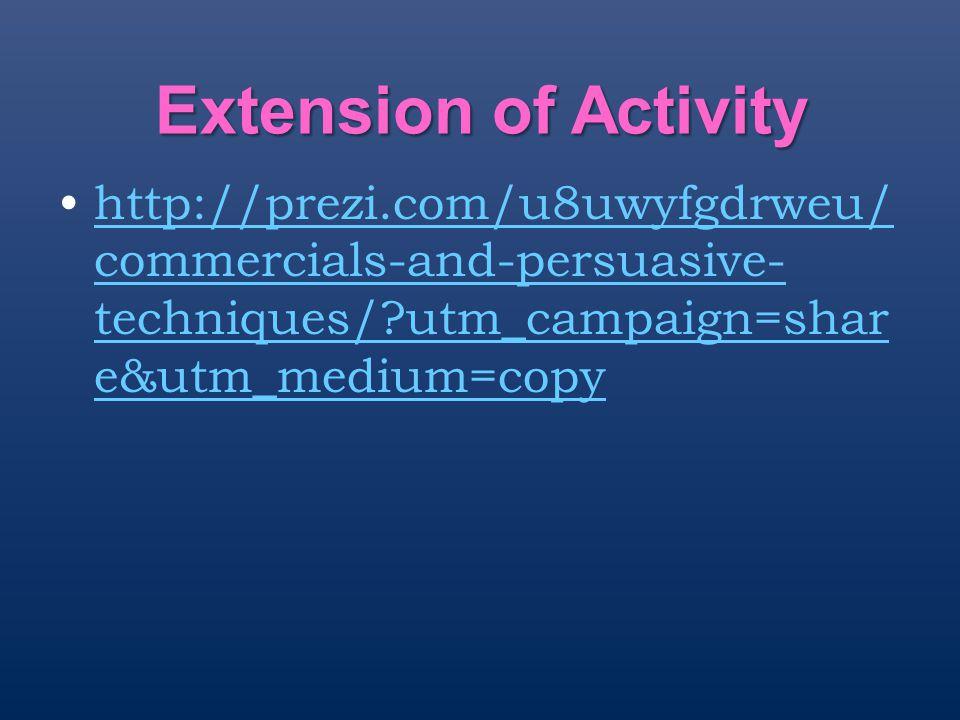 Extension of Activity http://prezi.com/u8uwyfgdrweu/commercials-and-persuasive-techniques/ utm_campaign=share&utm_medium=copy.