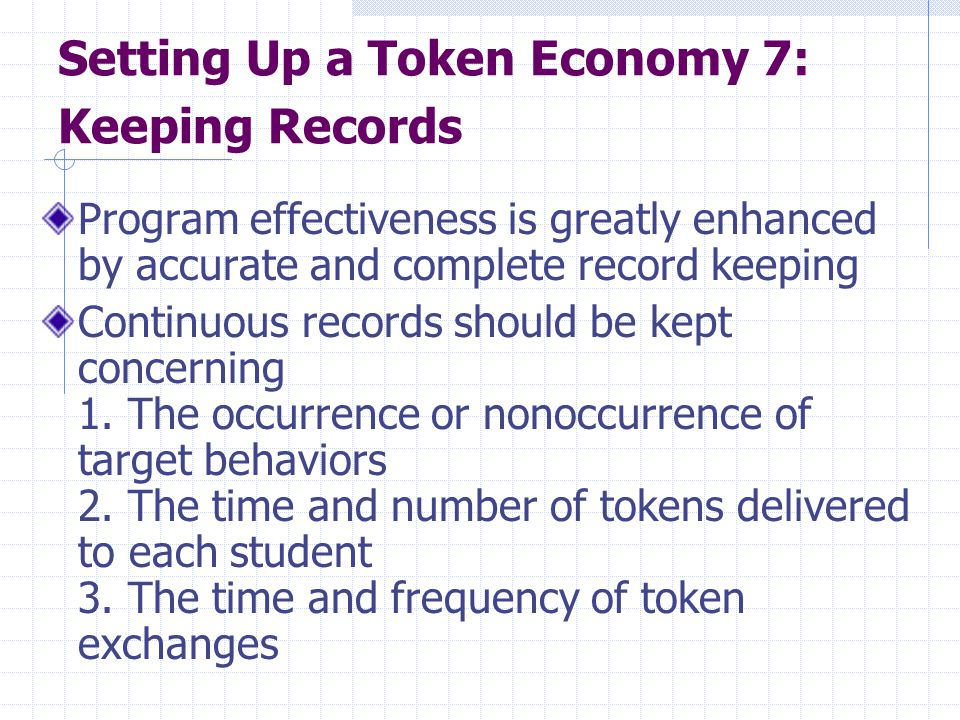 Setting Up a Token Economy 7: Keeping Records