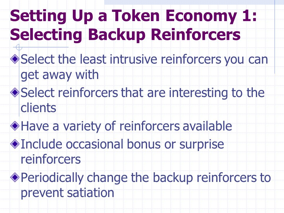 Setting Up a Token Economy 1: Selecting Backup Reinforcers