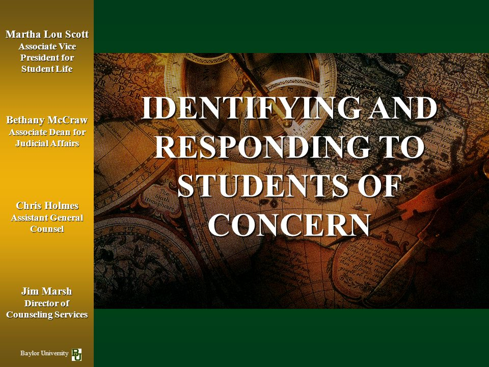 IDENTIFYING AND RESPONDING TO STUDENTS OF CONCERN
