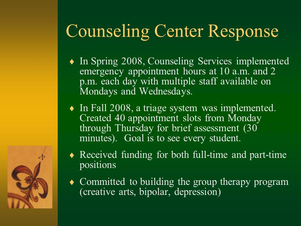Counseling Center Response