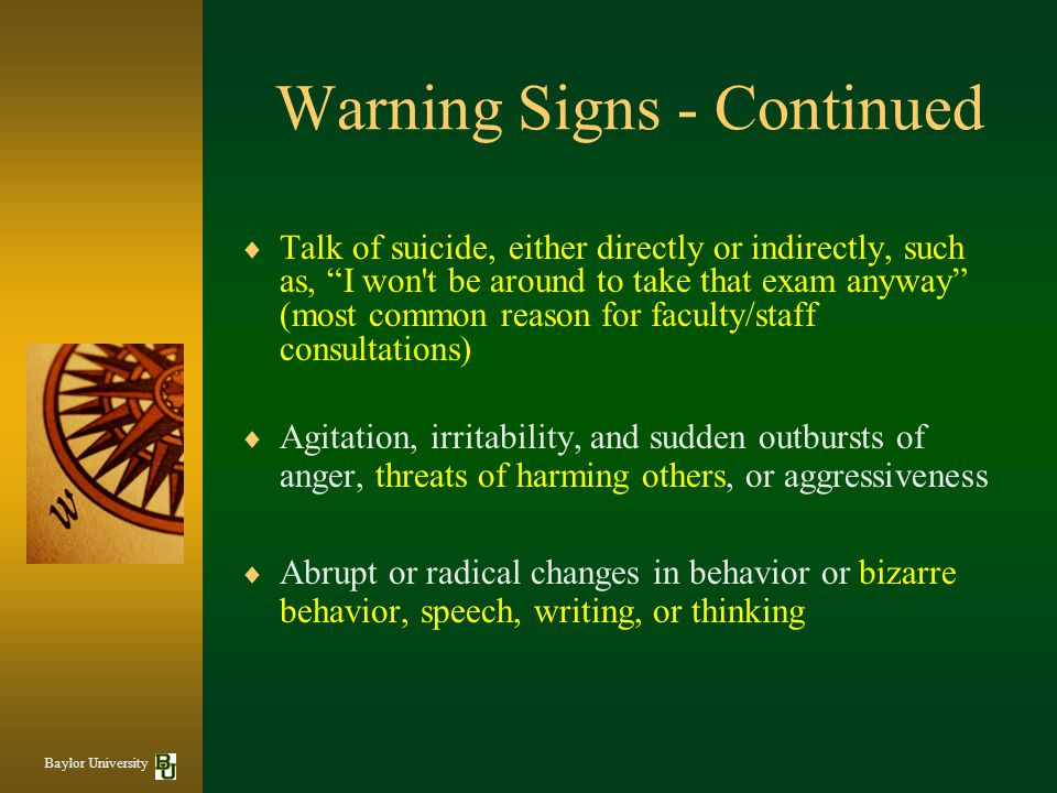 Warning Signs - Continued