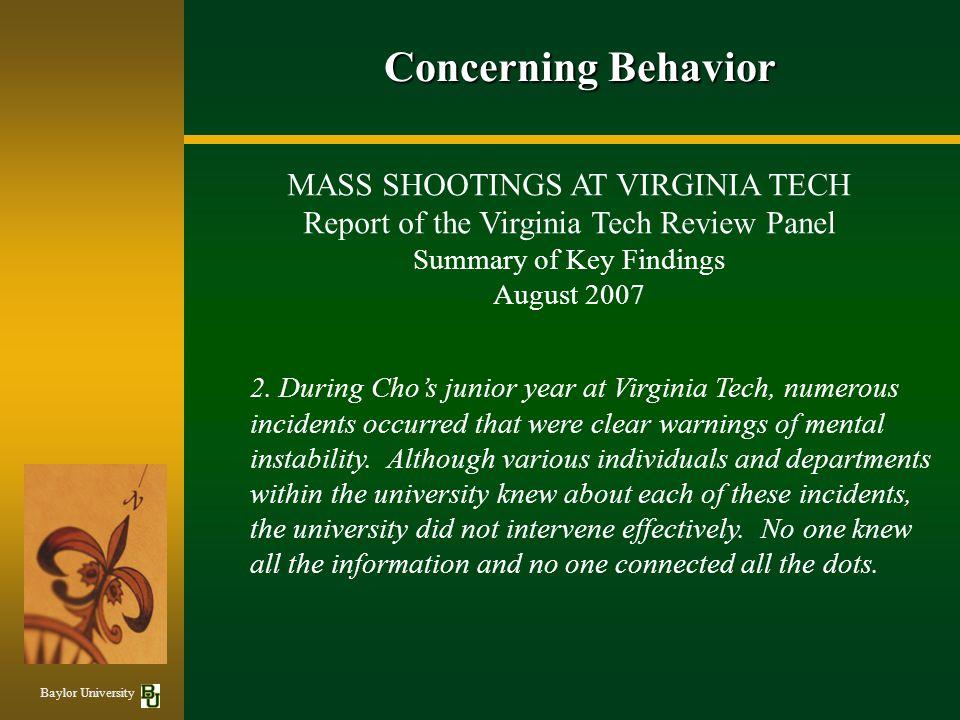 Concerning Behavior MASS SHOOTINGS AT VIRGINIA TECH