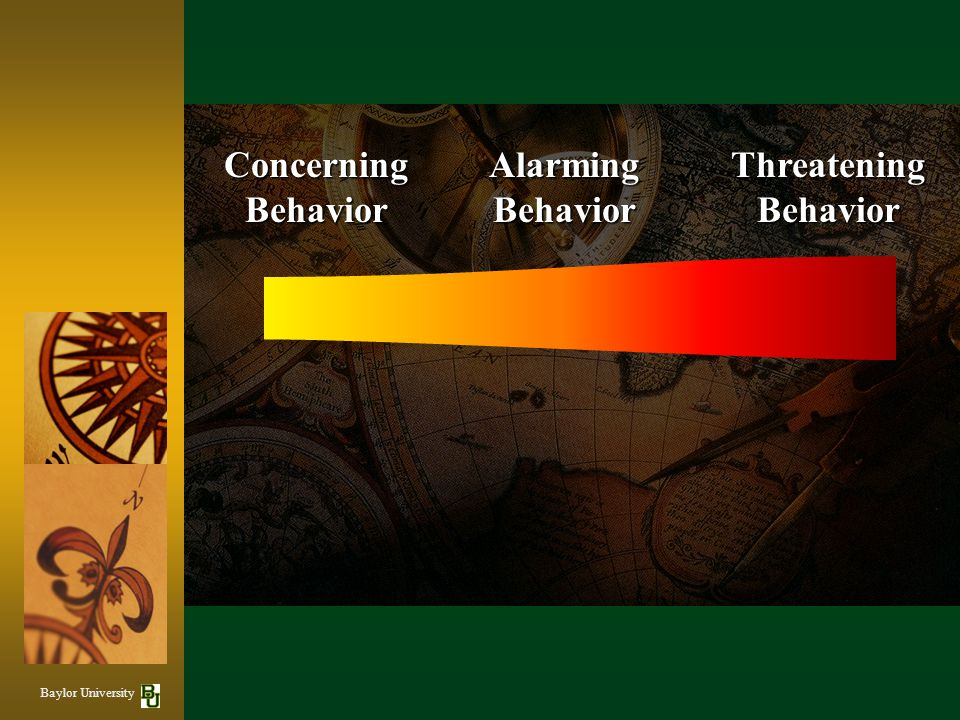 Concerning Behavior Alarming Behavior Threatening Behavior