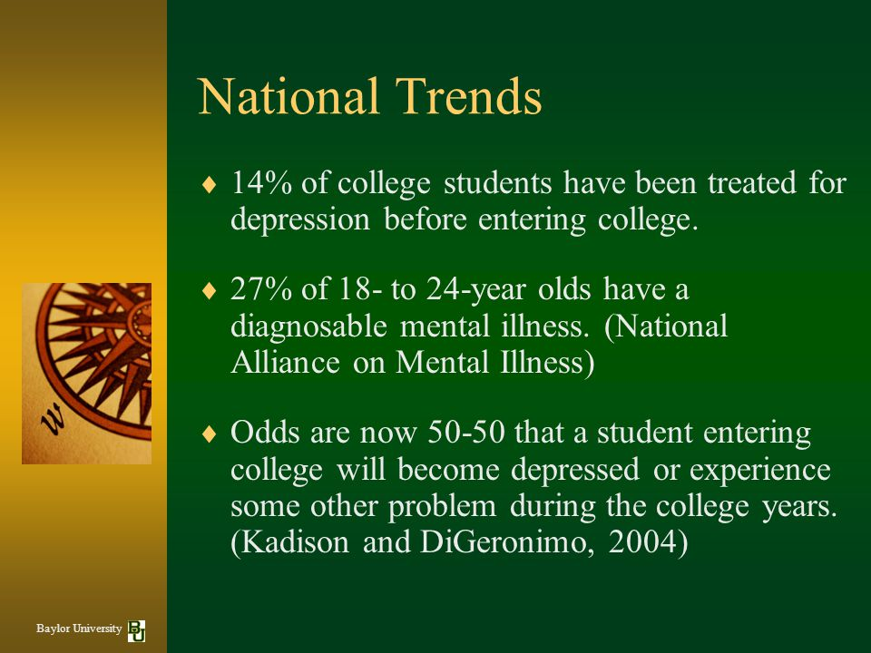 National Trends 14% of college students have been treated for depression before entering college.
