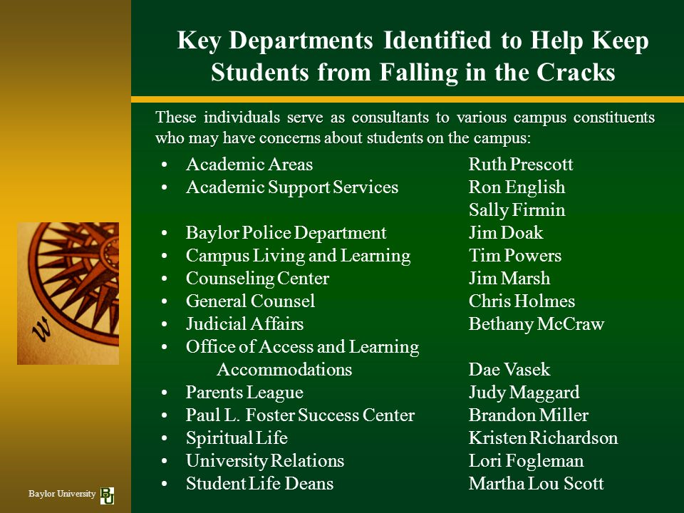 Key Departments Identified to Help Keep Students from Falling in the Cracks