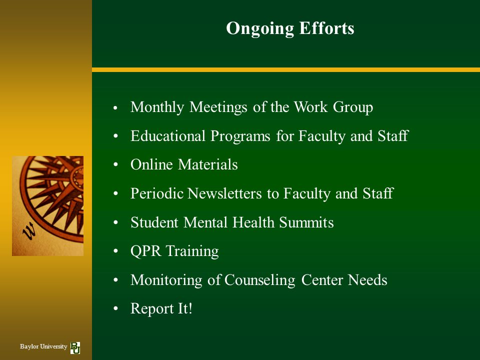 Ongoing Efforts • Educational Programs for Faculty and Staff