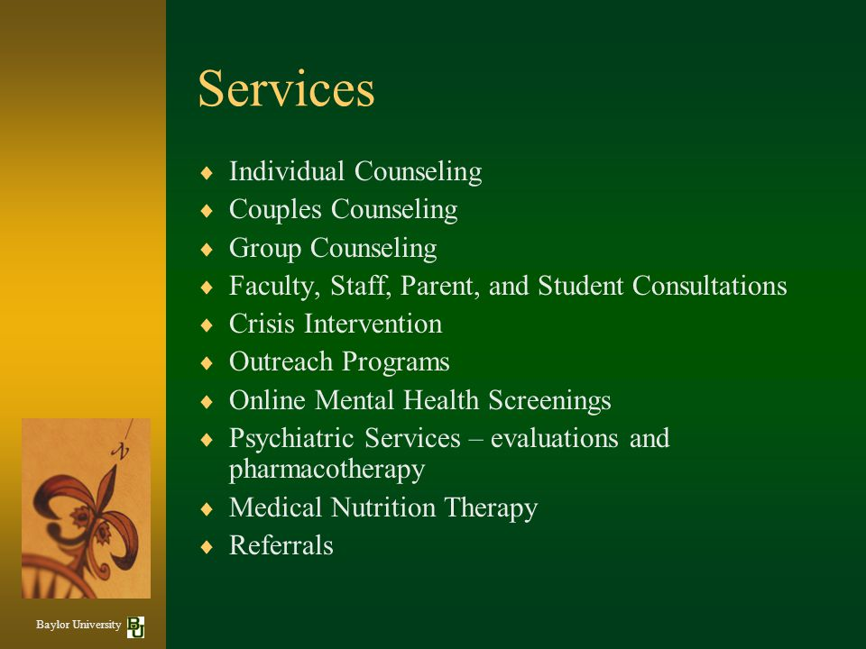 Services Individual Counseling Couples Counseling Group Counseling