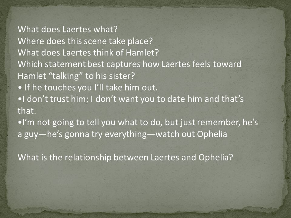 What does Laertes what Where does this scene take place What does Laertes think of Hamlet