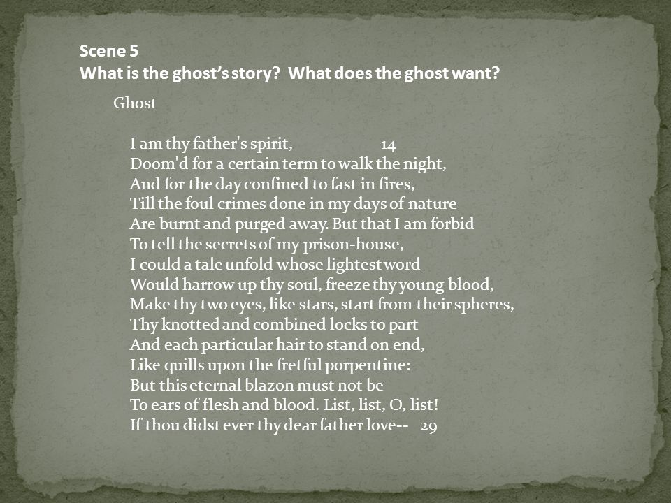 What is the ghost's story What does the ghost want