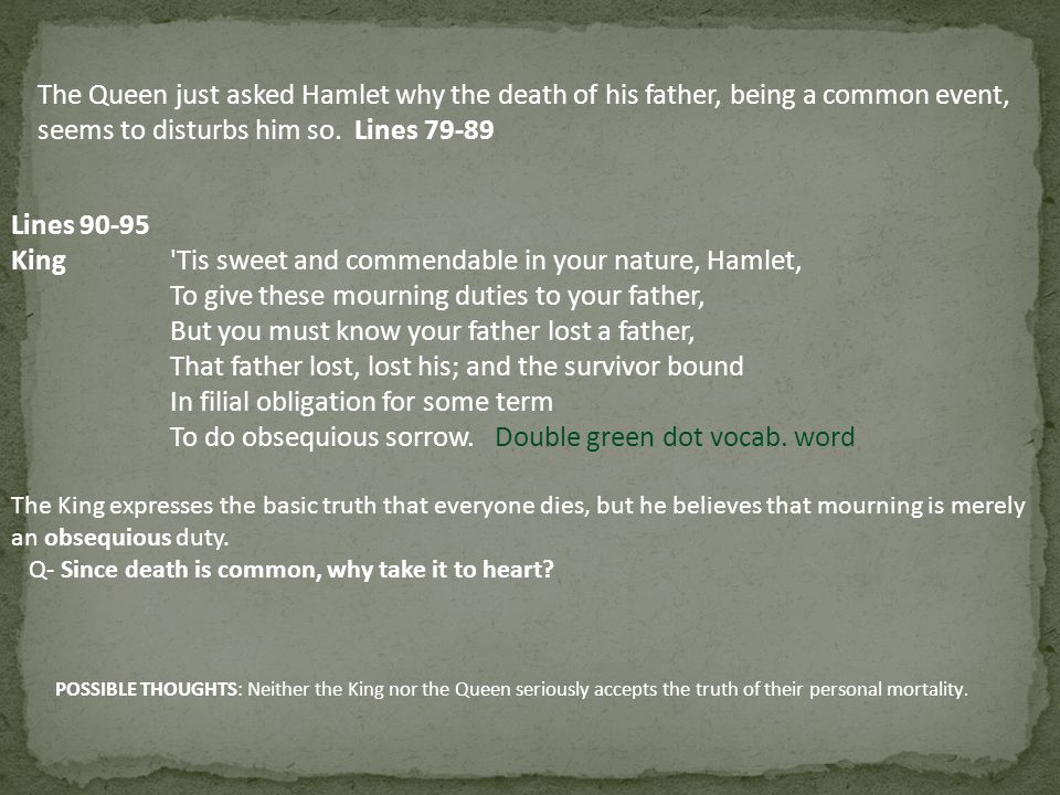 The Queen just asked Hamlet why the death of his father, being a common event, seems to disturbs him so. Lines 79-89