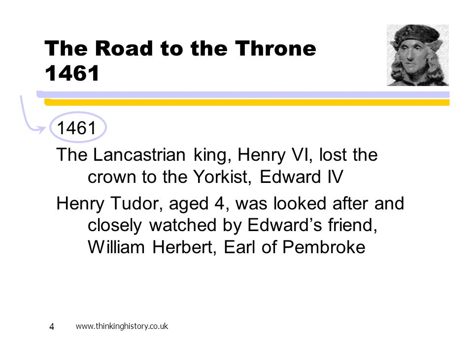 Active Learning April 17. The Road to the Throne 1461. 1461. The Lancastrian king, Henry VI, lost the crown to the Yorkist, Edward IV.