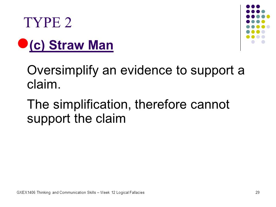 TYPE 2 (c) Straw Man Oversimplify an evidence to support a claim.