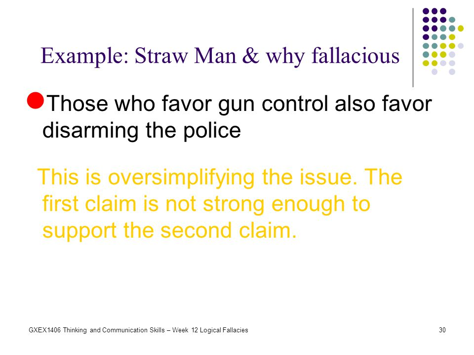 Example: Straw Man & why fallacious