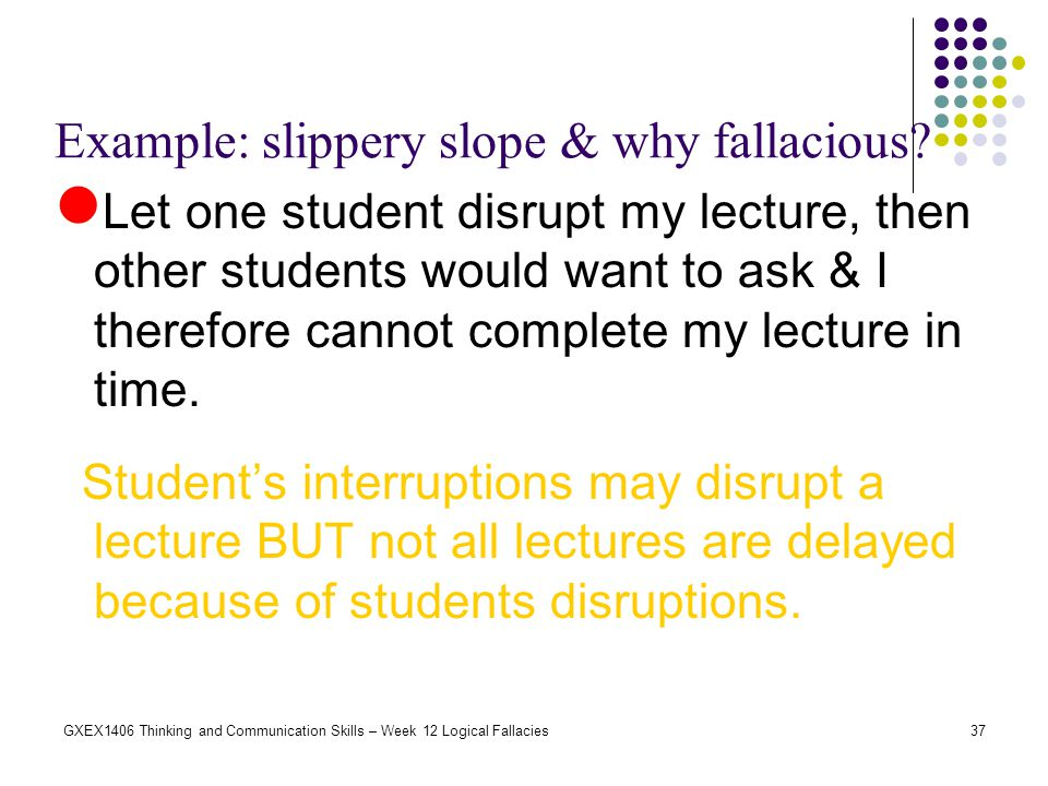 Example: slippery slope & why fallacious