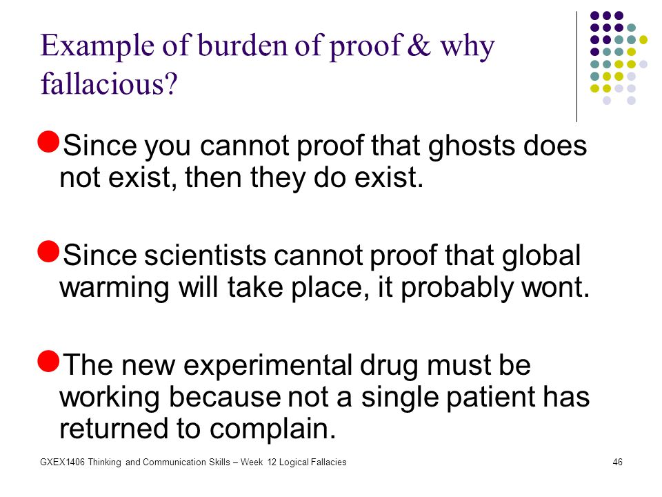 Example of burden of proof & why fallacious