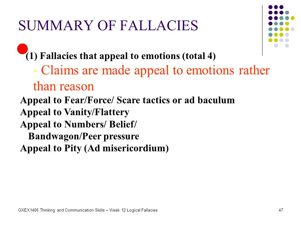 SUMMARY OF FALLACIES (1) Fallacies that appeal to emotions (total 4) - Claims are made appeal to emotions rather than reason.